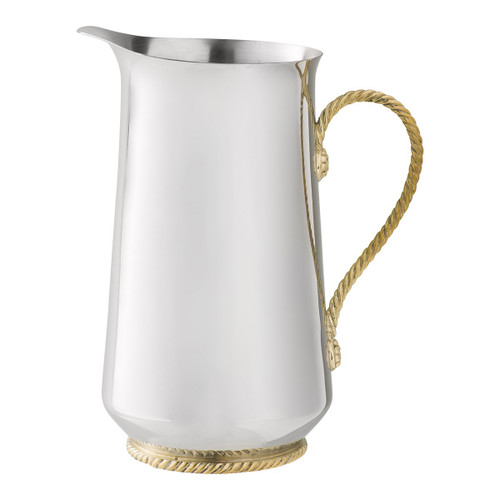 """Periton Serveware Pitcher  № N402/67  A streamlined silver pitcher is accented with warm and textural gold braiding to create a serving piece that lends a splash of elegance to both formal and casual occasions - from ice cold water for a holiday feast to sangria for an alfresco summer supper by the sea.  Measurements: 5""""W, 9""""H Capacity: 1.75 Quarts Stainless steel with brass accents Care: Hand wash with a gentle detergent and dry immediately with a soft cloth. Not dishwasher, oven, or microwave safe. Do not soak or leave unwashed overnight. Do not use abrasive cleaners, steel wool, or scouring pads that can scratch and dull metal surfaces. To keep brass looking its best, create a paste of lemon and baking soda and apply to the brass surface only, rub gently with a soft cloth, then rinse - et voilà!"""