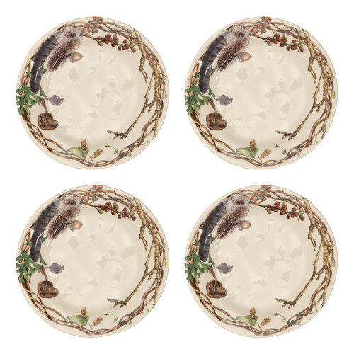 """Forest Walk Party Plates Set/4  № CW63SET/90  From our Forest Walk Collection- Rustic organic elements like twigs and acorns, festoon the borders of these plates in a rich color palette of gorgeously tangled elegance - creating an irresistible display for nibbles, tidbits, and gourmet pleasures. Our ceramic stoneware is made in Portugal and is dishwasher, freezer, microwave and oven safe.  Measurements: 8.5"""" W Made of Ceramic Stoneware Oven, Microwave, Dishwasher, and Freezer Safe Made in Portugal"""