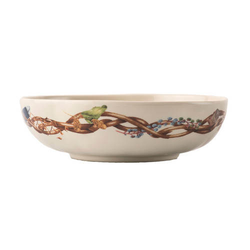 "Forest Walk Coupe Bowl  № CW08/90  Long walks on Leafy paths make for magical moments and big appetites - low and broad, with a scattering of feathers and flora, this abundant bowl is perfect for slow Sunday stews, and hearty pastas and salads.  Measurments: 8.5"" W x 2.5"" H Capacity: 1 quart Made of Ceramic Stoneware Oven, Microwave, Dishwasher, and Freezer Safe Made in Portugal"