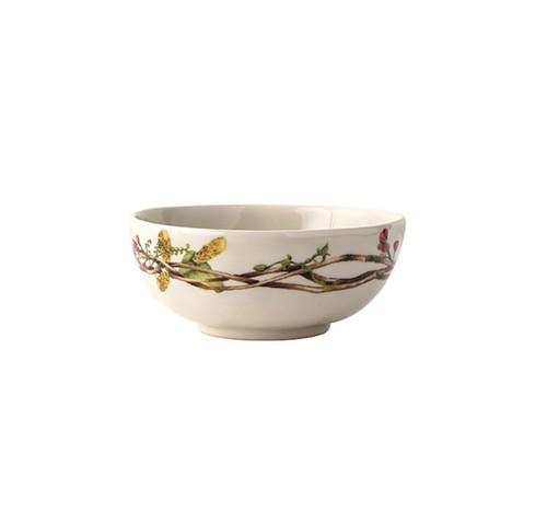 "Forest Walk Berry Bowl  № CW44/90  From our Forest Walk Collection- Encircled by a wreath of interwoven twigs, berries, and wispy feathers, the organic loveliness of this bowl may induce you to hit the hedgerows and return victorious with inky juice-stained fingertips and armfuls of blackberries - a taste of the season in a bowl. Our ceramic stoneware is made in Portugal and is dishwasher, freezer, microwave and oven safe.  Measurements: 5.5"" W, 2.5"" H Capacity: 15 ounces Made of Ceramic Stoneware Oven, Microwave, Dishwasher, and Freezer Safe Made in Portugal"