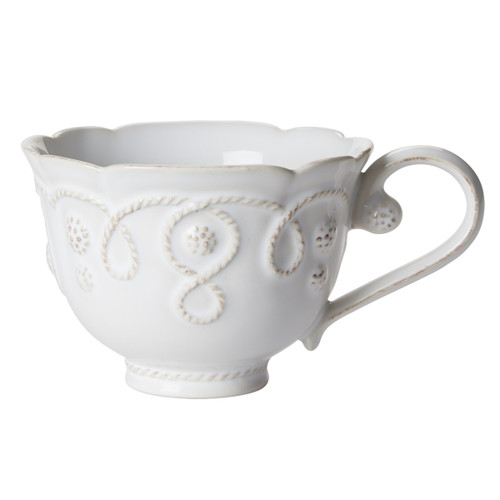 """№ JMX04/10 From our Jardins du Monde Collection - Is there anything more fetching than the combination of tea and castle gardens? That in mind, we dreamed up this graceful cup replete with scrolls and scallops for a fresh look that is also subtly regal.  Product Measures: 4.5"""" W, 3"""" H Capacity: 9 ounces Made of Ceramic stoneware  Oven, Microwave, Dishwasher, and Freezer Safe Made in Portugal"""