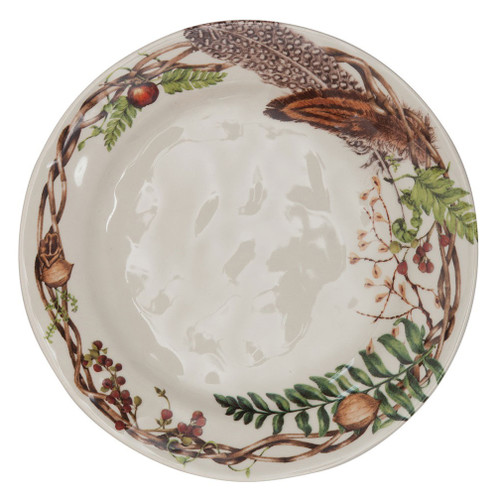 """Forest Walk Dinner Plate  № CW01/90  From our Forest Walk Collection- Found treasures from woodland rambles are artfully arranged in a coronet of wildly beautiful things - making a fine nest to frame your main course. Our ceramic stoneware is made in Portugal and is dishwasher, freezer, microwave and oven safe.  Measurements: 11"""" W Made of Ceramic Stoneware Oven, Microwave, Dishwasher, and Freezer Safe Made in Portugal"""