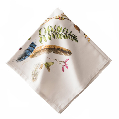 """Forest Walk Napkin Set/4  № LB52/90  Depicting our artful scattering of found treasures from a Forest Walk, the multitude of exquisite colors and texture of nature's gift allows this napkin to go with every setting.   Measurements: 22"""" Sq Material: 100% Cotton Machine wash cool; lay flat to dry Imported"""