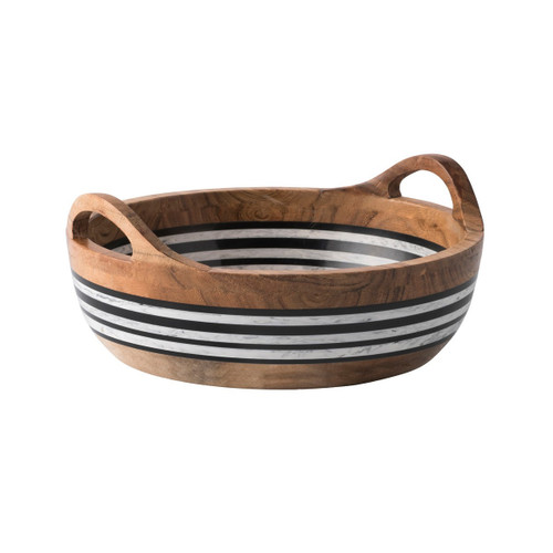 "Stonewood Stripe Round Serving Bowl  № MS31/390  From our Stonewood Stripe Collection- Our round serving bowl with handles makes serving your favorite salad or pile of pita a cinch. Between layers of rich Acacia Wood are stripes of hand-marbled resin -a juxtaposition of rustic and refined artisanal materials. Each piece is shaped by hand and crafted into unique entertaining pieces.    Measurements: 11"" W Made of Acacia wood, hand-marbled resin Hand wash gentle soap & water and promplty towel dried. Do not soak. Imported Shown with Stonewood Stripe Salad Server Set; not included"