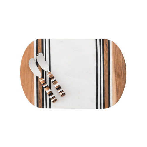 """Stonewood Stripe Serving Board & Spreaders  № MS102SET/390  From our Stonewood Stripe Collection- The serving board contains a large marble center that is perfect for serving and cutting. Set includes 2 spreaders and one serving board. Between layers of rich Acacia Wood are stripes of hand-marbled resin -a juxtaposition of rustic and refined artisanal materials. Each piece is shaped by hand and crafted into unique entertaining pieces.  Measurements: Serving Board: 15"""" L Spreaders: 7.25"""" H Made of Acacia wood, hand-marbled resin. Serving board features a large marble center. Hand wash gentle soap & water and promptly towel dried. Do not soak. Imported"""