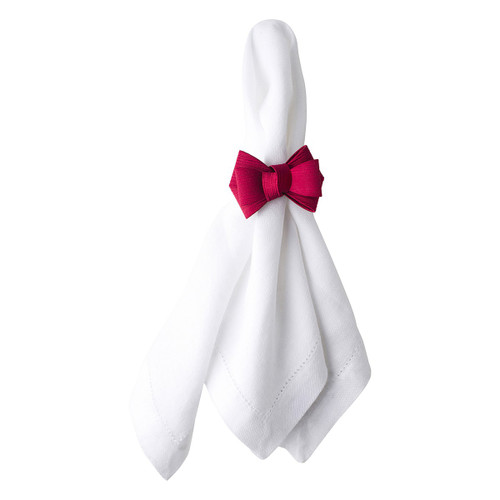 """Juliska Tuxedo Ruby Napkin Ring Set/4  LR48/73 Everyday is worthy of fanciful celebration! Our pretty and versatile ruby tuxedo napkin ring adds a touch of flare to any setting from a casual brunch for two to a formal holiday gathering. Slip our bow over your favorite linen and, voila! Instant elegance!  Measurements: 3""""W, 2.5""""H Material: Polyester Imported"""