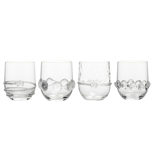"Heritage Collectors Set of Tumblers  № B550SET/C  New! To Pre-Order Call 888.551.7310 This sparkling set of quintessential entertaining glasses features a different signature motif for each hand-blown piece to create a foursome that is as handsome as it is unique.  Measurements: 3""W, 4""H Capacity: 10 ounces Made of Mouth-Blown Glass Dishwasher safe on a warm delicate cycle, Hand washing preferred. Made in Czech Republic"