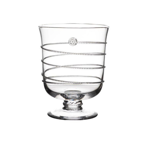 """Amalia Small Hurricane  № B466A/C  From our Amalia Collection- Let dancing candlelight set the scene for a romantic night with this hurricane, which can also be used as a vase for fresh floral arrangements. Our most prolific Bohemian glass collection features an iconic spiral threaded design ascending from its base accented with our signature berry.     Measurements: 7.5"""" H Capacity: 1.5 quarts Made of Mouth-Blown Glassware Dishwasher Safe on delicate cycle, hand-washing preferred Made in the Czech Republic"""