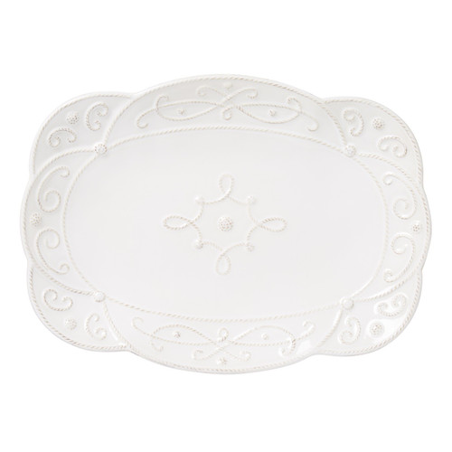 """№ JMX21/10 From our Jardins du Monde Collection - Richly textural and elegantly clad in scrollwork and a sweeping silhouette - this versatile platter brings the enduring style of historic gardens to the table - and mixes seamlessly with other collections.  Products Measures: 15"""" L, 11"""" W Made Ceramic stoneware Oven, Microwave, Dishwasher, Freezer Safe Made in Portugal"""