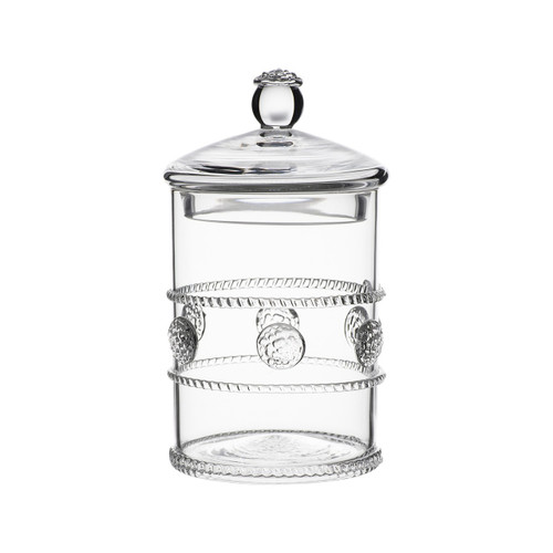 "Isabella Mini Canister  № B146IS/C  From our Isabella Collection - Dress up sparkling sugar in the kitchen or cotton balls in the bath for a refined style that leaves no stone unturned. Remove the lid for a perfect little vase.  Measurements: 3.5""W, 6"" H Capacity: 12 ounces Made in Czech Republic Dishwasher safe, Warm gentle cycle. Not suitable for hot contents, freezer or microwave use."