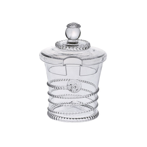 """Amalia Sugar Pot/Jam Bowl  № B201A/C  From our Amalia Collection - This divine petite lidded pot makes a pretty presentation of sugar and preserves.  Measurements: 5"""" H Capacity: 6 ounces Made in Czech Republic Dishwasher safe, Warm gentle cycle. Not suitable for hot contents, freezer or microwave use."""
