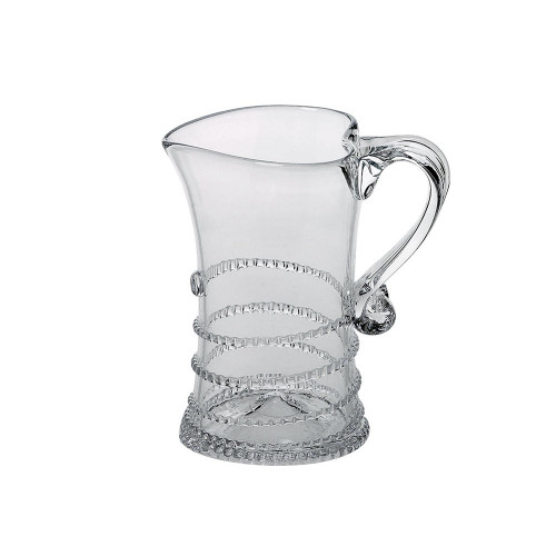 "Amalia Creamer  № B120C/C  From our Amalia Collection - This sparkling vessel is accented with a simple swirl to lend a chic touch to the breakfast table or teatime.  Measurements: 4"" H Capacity: 6 ounces Made in Czech Republic Dishwasher safe, Warm gentle cycle. Not suitable for hot contents, freezer or microwave use."