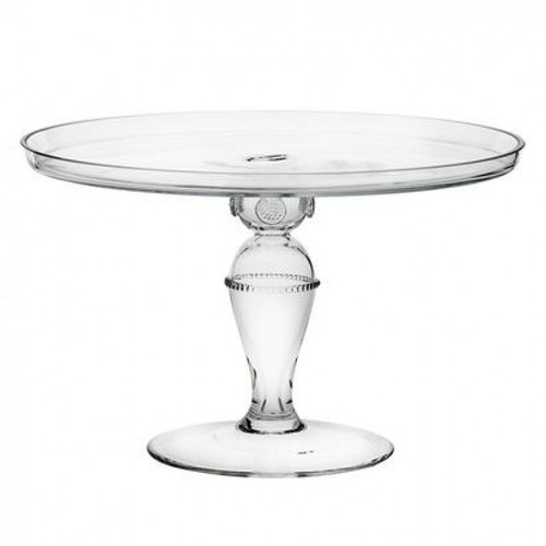 """Isabella 12"""" Cake Pedestal  № B134C/C  From our Isabella Collection - A roomy platter allows for decadent offerings to be displayed atop an eye-catching pedestal.  Measurements: 12""""W, 8"""" H Made in Czech Republic Dishwasher safe, Warm gentle cycle. Hand washing is recommended for large or highly decorated pieces Not suitable for hot contents, freezer or microwave use."""