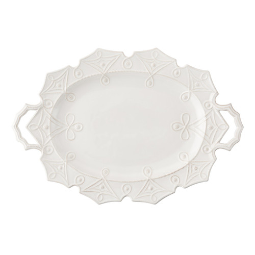 """№ JMX74/10 From our Jardins du Monde Collection - Elegant angularity reminiscent of the precisely ordered hedgerows of historic gardens adorn this handsome platter. Generous handles make for effortless serving of your holiday roast, though you may want to showcase this artistic piece year round in your sideboard.  Product Measures: 25"""" L x 17""""W Made of Ceramic Stoneware Oven, Microwave, and Dishwasher Safe Made in Portugal"""