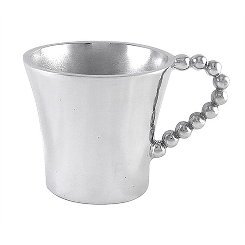 Pearled Baby Cup  Collectors of the signature String of Pearls collection will want to pass their enthusiasm down to the littlest ones in the family. The Pearled Baby Cup is just the size and makes a great new baby or christening gift. Recycled Sandcast Aluminum DETAILS & PRODUCT CARE  Dimensions: 3in W Product Care: Our fine metal is handcrafted from 100% recycled aluminum. All items are food-safe and will not tarnish. Handwash in warm water with mild soap and towel dry immediately. Do not place in dishwasher or microwave. Avoid extended contact with water, salty or acidic foods; coat lightly with vegetable oil or spray to easily avoid staining. Warm to 350 degerees for hot foods. Freeze or chill for summer entertaining. Cutting directly on the metal surface will scratch the finish. Occasional use of non-abrasive metal polish will revive luster.