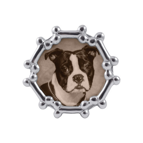Round frame, circled in dog bones, perfect for displaying a photo of your best friend! Packaged in signature Mariposa gift box, making it a great gift for the dog lover in your life. Recycled Sandcast Aluminum DETAILS & PRODUCT CARE Item Code: 1407 Product Care: Our fine metal is handcrafted from 100% recycled aluminum. All items are food-safe and will not tarnish. Handwash in warm water with mild soap and towel dry immediately. Do not place in dishwasher or microwave. Avoid extended contact with water, salty or acidic foods; coat lightly with vegetable oil or spray to easily avoid staining. Warm to 350 degerees for hot foods. Freeze or chill for summer entertaining. Cutting directly on the metal surface will scratch the finish. Occasional use of non-abrasive metal polish will revive luster. Photo Opening Size: 4 x 6