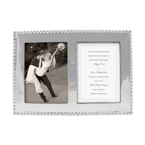 Display cherished moments with style and timeless appeal in our Beaded 5 x 7 Double Frame. Frame holds two photos or a photo and your wedding invitation. Makes a lovely wedding or engagement gift! Recycled Sandcast Aluminum DETAILS & PRODUCT CARE Dimensions: 13in L x 9in W Product Care: Our fine metal is handcrafted from 100% recycled aluminum. All items are food-safe and will not tarnish. Handwash in warm water with mild soap and towel dry immediately. Do not place in dishwasher or microwave. Avoid extended contact with water, salty or acidic foods; coat lightly with vegetable oil or spray to easily avoid staining. Warm to 350 degerees for hot foods. Freeze or chill for summer entertaining. Cutting directly on the metal surface will scratch the finish. Occasional use of non-abrasive metal polish will revive luster.