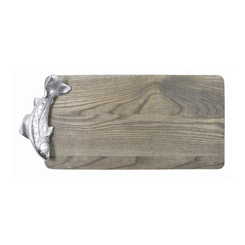 For our Driftwood Collection, Mariposa partnered with Vermont craftsman, J. K. Adams. We combined their North American Ash with our recycled aluminum. The result is beautiful and functional serving and cheese boards. The Fish Cheese Board is adorned with a swimming fish. Item is retired with limited availability. Original price $98.00. Natural Materials & Aluminum DETAILS & PRODUCT CARE Dimensions: 16in L x 8in W Product Care: Driftwood cheese and serving boards are crafted from North American ash, paired with 100% receycled aluminum handles. All boards are food-safe. Maple cheese and serving boards are crafted from sustainable resources. Handwash wood in warm water with mild soap and dry immediately. Do not place in dishwasher, microwave or oven. Avoid extended conatct with water, salty or acidic foods.