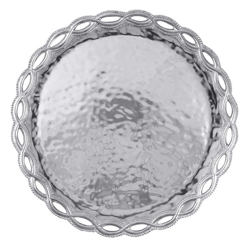 Delicate, openwork dances around the borders of textured serving pieces and gifts in our Filigree collection. The Filigree Large Round Platter is a statement piece that adds style and grace to any table. Makes a beautiful wedding gift! Recycled Sandcast Aluminum DETAILS & PRODUCT CARE Product Care: Our fine metal is handcrafted from 100% recycled aluminum. All items are food-safe and will not tarnish. Handwash in warm water with mild soap and towel dry immediately. Do not place in dishwasher or microwave. Avoid extended contact with water, salty or acidic foods; coat lightly with vegetable oil or spray to easily avoid staining. Warm to 350 degerees for hot foods. Freeze or chill for summer entertaining. Cutting directly on the metal surface will scratch the finish. Occasional use of non-abrasive metal polish will revive luster. Collection Name: Silver Metal Product Line: Serving Trays and More Diameter dimension: 17.75 in