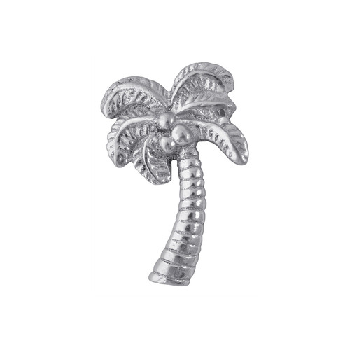 Shade a stack of napkins with this Palm Tree Napkin Weight, in 100% recycled aluminum. Recycled Sandcast Aluminum DETAILS & PRODUCT CARE Dimensions: 3.25in L Product Care: Our fine metal is handcrafted from 100% recycled aluminum. All items are food-safe and will not tarnish. Handwash in warm water with mild soap and towel dry immediately. Do not place in dishwasher or microwave. Avoid extended contact with water, salty or acidic foods; coat lightly with vegetable oil or spray to easily avoid staining. Warm to 350 degerees for hot foods. Freeze or chill for summer entertaining. Cutting directly on the metal surface will scratch the finish. Occasional use of non-abrasive metal polish will revive luster.