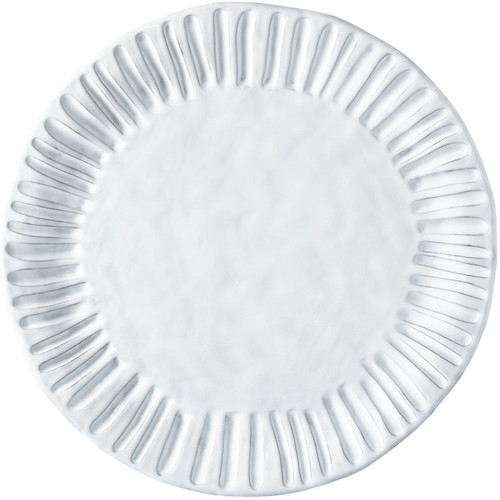 "Our Incanto White Stripe Charger is a striking base for your tablesetting or platter for serving. 12.75"" D INC-1120A"