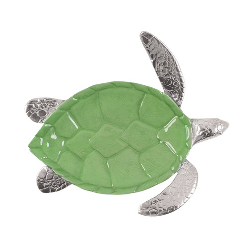 Our Sea Turtle Server is brought to life with a pop of bright, green enamel. Recycled Sandcast Aluminum DETAILS & PRODUCT CARE Dimensions: 14in L x 12.5in W x 2.75in H Product Care: Handwash in warm water with mild soap and towel dry immediately. Do not place in dishwasher or microwave. Do not warm in oven or chill in freezer. Cutting directly on the surface may scratch the finish.