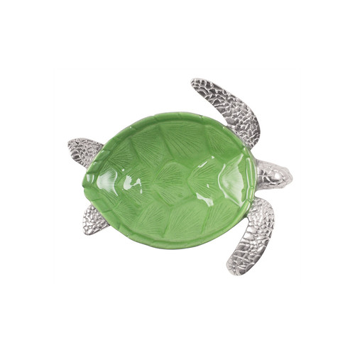 Our swimming Sea Turtle Dip Dish comes to life with a bright, green, enamel shell. Handcrafted from 100% recycled aluminum and hand painted with food-safe enamel. Recycled Sandcast Aluminum DETAILS & PRODUCT CARE Dimensions: 7.5in L x 6.5in W x 2in H Product Care: Handwash in warm water with mild soap and towel dry immediately. Do not place in dishwasher or microwave. Do not warm in oven or chill in freezer. Cutting directly on the surface may scratch the finish.