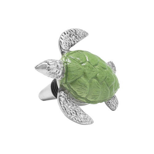 Brighten the table with our adorable, handcrafted Sea Turtle Bottle Stopper, Green. Created in recycled, sand cast aluminum, the bottle stopper is fit with a ribbed black seal to help preserve wines. Recycled Sandcast Aluminum DETAILS & PRODUCT CARE Dimensions: 3.03in L x 2.8in W x 3.07in H Product Care: Handwash in warm water with mild soap and towel dry immediately. Do not place in dishwasher or microwave. Do not warm in oven or chill in freezer. Cutting directly on the surface may scratch the finish.