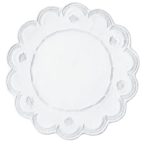 "The Incanto White Lace Service Plate and Charger makes a striking base for your tablesetting or platter for serving. 13.25""D INC-1120D"