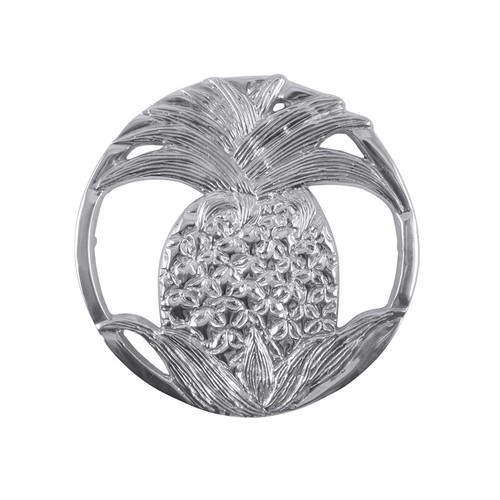 The Pineapple Trivet is a beautiful pairing of form and function. The Trivet decorates your table and can take the heat of bake ware straight from the oven. Recycled Sandcast Aluminum DETAILS & PRODUCT CARE Product Care: Our fine metal is handcrafted from 100% recycled aluminum. All items are food-safe and will not tarnish. Handwash in warm water with mild soap and towel dry immediately. Do not place in dishwasher or microwave. Avoid extended contact with water, salty or acidic foods; coat lightly with vegetable oil or spray to easily avoid staining. Warm to 350 degerees for hot foods. Freeze or chill for summer entertaining. Cutting directly on the metal surface will scratch the finish. Occasional use of non-abrasive metal polish will revive luster.