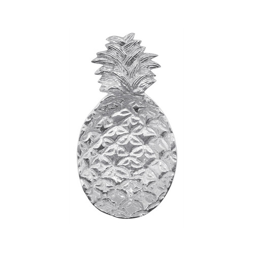 Our adorable, handcrafted Pineapple Trinket Dish is a stylish way to store jewelry, spare change, paper clips on the desk, or whatever you would like. Handcrafted from 100% recycled aluminum. Recycled Sandcast Aluminum DETAILS & PRODUCT CARE Dimensions: 7.99in L x 4.41in W x 1.61in H Product Care: Our fine metal is handcrafted from 100% recycled aluminum. All items are food-safe and will not tarnish. Handwash in warm water with mild soap and towel dry immediately. Do not place in dishwasher or microwave. Avoid extended contact with water, salty or acidic foods; coat lightly with vegetable oil or spray to easily avoid staining. Warm to 350 degerees for hot foods. Freeze or chill for summer entertaining. Cutting directly on the metal surface will scratch the finish. Occasional use of non-abrasive metal polish will revive luster.