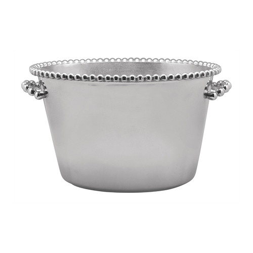 We have a gift for tradition-reimagined in our String of Pearls collection. Beaded trim and handles add style and function to the Pearled Double Ice Bucket, which is sure to make a statement in any home! Recycled Sandcast Aluminum DETAILS & PRODUCT CARE Dimensions: 17.5in L x 12.5in W x 10.5in H Product Care: Our fine metal is handcrafted from 100% recycled aluminum. All items are food-safe and will not tarnish. Handwash in warm water with mild soap and towel dry immediately. Do not place in dishwasher or microwave. Avoid extended contact with water, salty or acidic foods; coat lightly with vegetable oil or spray to easily avoid staining. Warm to 350 degerees for hot foods. Freeze or chill for summer entertaining. Cutting directly on the metal surface will scratch the finish. Occasional use of non-abrasive metal polish will revive luster.