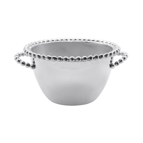 Pearled Oval Small Ice Bucket Recycled Sandcast Aluminum DETAILS & PRODUCT CARE Dimensions: 10.43in L x 5.98in W x 5.35in H Product Care: Our fine metal is handcrafted from 100% recycled aluminum. All items are food-safe and will not tarnish. Handwash in warm water with mild soap and towel dry immediately. Do not place in dishwasher or microwave. Avoid extended contact with water, salty or acidic foods; coat lightly with vegetable oil or spray to easily avoid staining. Warm to 350 degerees for hot foods. Freeze or chill for summer entertaining. Cutting directly on the metal surface will scratch the finish. Occasional use of non-abrasive metal polish will revive luster.