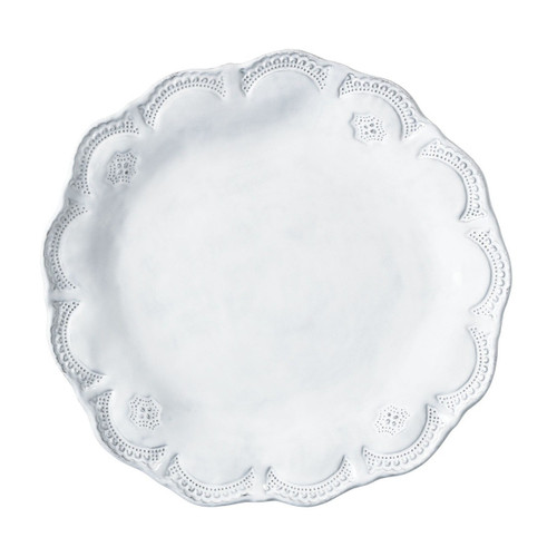 "The Incanto White Lace Dinner Plate was inspired by antique lace owned by the artisan's grandmother. Mix and match the Incanto white lace dinner plates with our other patterns to create your own unique setting. 11.75""D INC-1100D"