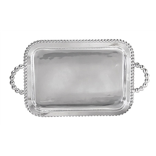 We have a gift for tradition, reimagined, in our String of Pearls collection. A multitude of pearls provide whimsical handles and a luxurious border around our simple, yet elegant, Pearled Service Tray. Recycled Sandcast Aluminum DETAILS & PRODUCT CARE Dimensions: 21in L x 12in W Product Care: Our fine metal is handcrafted from 100% recycled aluminum. All items are food-safe and will not tarnish. Handwash in warm water with mild soap and towel dry immediately. Do not place in dishwasher or microwave. Avoid extended contact with water, salty or acidic foods; coat lightly with vegetable oil or spray to easily avoid staining. Warm to 350 degerees for hot foods. Freeze or chill for summer entertaining. Cutting directly on the metal surface will scratch the finish. Occasional use of non-abrasive metal polish will revive luster.