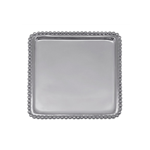 Use our Beaded Cocktail Napkin Tray to hold your most festive cocktail napkins, or as a lovely catchall for jewelry, paperclips, or candy! Personalize with your favorite saying, monogram, or zip code. Handcrafted from 100% recycled aluminum. Recycled Sandcast Aluminum DETAILS & PRODUCT CARE Dimensions: 6.13in L x 6.13in W x .62in H Product Care: Our fine metal is handcrafted from 100% recycled aluminum. All items are food-safe and will not tarnish. Handwash in warm water with mild soap and towel dry immediately. Do not place in dishwasher or microwave. Avoid extended contact with water, salty or acidic foods; coat lightly with vegetable oil or spray to easily avoid staining. Warm to 350 degerees for hot foods. Freeze or chill for summer entertaining. Cutting directly on the metal surface will scratch the finish. Occasional use of non-abrasive metal polish will revive luster.
