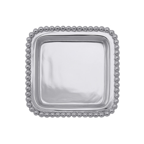 "Use this beaded edge tray to stow rings or ""sticky"" notes. Other catchalls cannot compare to the understated elegance of this small tray. Recycled Sandcast Aluminum DETAILS & PRODUCT CARE Dimensions: 4.25in L x 4.25in W x .5in H Product Care: Our fine metal is handcrafted from 100% recycled aluminum. All items are food-safe and will not tarnish. Handwash in warm water with mild soap and towel dry immediately. Do not place in dishwasher or microwave. Avoid extended contact with water, salty or acidic foods; coat lightly with vegetable oil or spray to easily avoid staining. Warm to 350 degerees for hot foods. Freeze or chill for summer entertaining. Cutting directly on the metal surface will scratch the finish. Occasional use of non-abrasive metal polish will revive luster."
