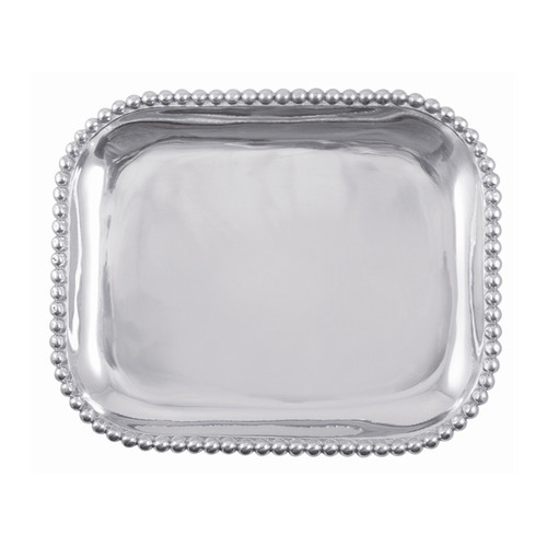We have a gift for tradition, reimagined, in our String of Pearls collection. A multitude of pearls provide a luxurious border around the polished, silver interior of our Pearled Rectangular Platter. Handcrafted from 100% recycled aluminum. Recycled Sandcast Aluminum DETAILS & PRODUCT CARE Dimensions: 13.25in L x 10.75in W Product Care: Our fine metal is handcrafted from 100% recycled aluminum. All items are food-safe and will not tarnish. Handwash in warm water with mild soap and towel dry immediately. Do not place in dishwasher or microwave. Avoid extended contact with water, salty or acidic foods; coat lightly with vegetable oil or spray to easily avoid staining. Warm to 350 degerees for hot foods. Freeze or chill for summer entertaining. Cutting directly on the metal surface will scratch the finish. Occasional use of non-abrasive metal polish will revive luster.