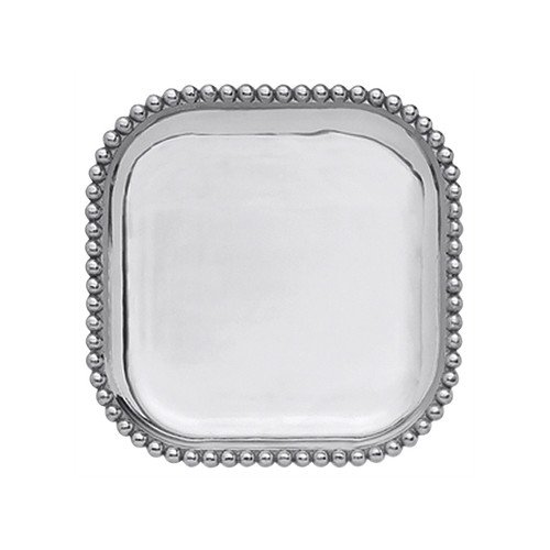 We have a gift for tradition, reimagined, in our String of Pearls collection. A multitude of pearls provide a luxurious border around the polished, silver interior of our Small Square Platter. Handcrafted from 100% recycled aluminum. Recycled Sandcast Aluminum DETAILS & PRODUCT CARE Dimensions: 10.5in L x 10.5in W Product Care: Our fine metal is handcrafted from 100% recycled aluminum. All items are food-safe and will not tarnish. Handwash in warm water with mild soap and towel dry immediately. Do not place in dishwasher or microwave. Avoid extended contact with water, salty or acidic foods; coat lightly with vegetable oil or spray to easily avoid staining. Warm to 350 degerees for hot foods. Freeze or chill for summer entertaining. Cutting directly on the metal surface will scratch the finish. Occasional use of non-abrasive metal polish will revive luster.