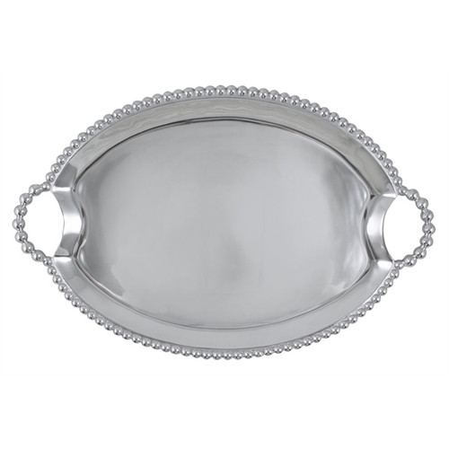 A multitude of pearls provide whimsical handles and a luxurious border around our simple, yet elegant, Oval Tray. Tray curves slightly at edges for serving without spilling. Recycled Sandcast Aluminum DETAILS & PRODUCT CARE Dimensions: 19.5in L x 13in W Product Care: Our fine metal is handcrafted from 100% recycled aluminum. All items are food-safe and will not tarnish. Handwash in warm water with mild soap and towel dry immediately. Do not place in dishwasher or microwave. Avoid extended contact with water, salty or acidic foods; coat lightly with vegetable oil or spray to easily avoid staining. Warm to 350 degerees for hot foods. Freeze or chill for summer entertaining. Cutting directly on the metal surface will scratch the finish. Occasional use of non-abrasive metal polish will revive luster.
