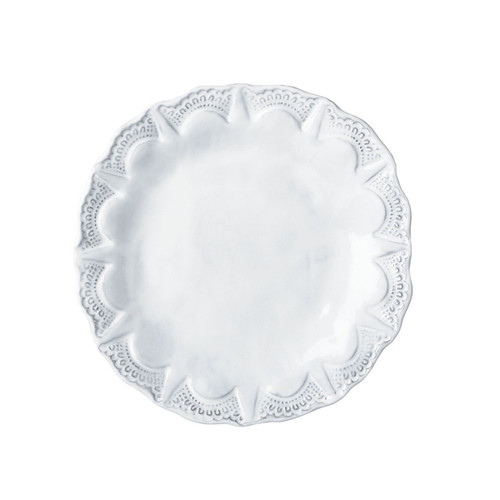 """This Incanto design on this Incanto White Lace Salad Plate was inspired by antique lace owned by the artisan's grandmother. Mix it with other Incanto designs to create your own unique setting. 9""""D INC-1101D"""
