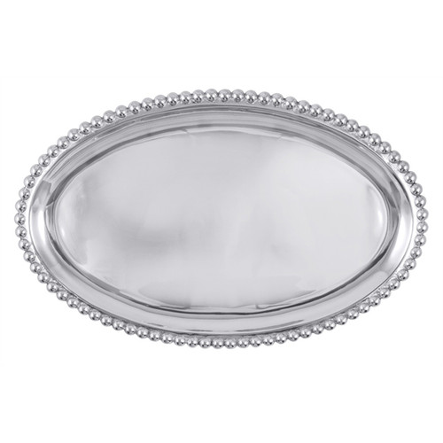 A bevy of pearls surrounds the larger Oval Platter. Perfect for serving a main dish at your next dinner party. Recycled Sandcast Aluminum DETAILS & PRODUCT CARE Dimensions: 15.5in L x 9.5in W Product Care: Our fine metal is handcrafted from 100% recycled aluminum. All items are food-safe and will not tarnish. Handwash in warm water with mild soap and towel dry immediately. Do not place in dishwasher or microwave. Avoid extended contact with water, salty or acidic foods; coat lightly with vegetable oil or spray to easily avoid staining. Warm to 350 degerees for hot foods. Freeze or chill for summer entertaining. Cutting directly on the metal surface will scratch the finish. Occasional use of non-abrasive metal polish will revive luster.