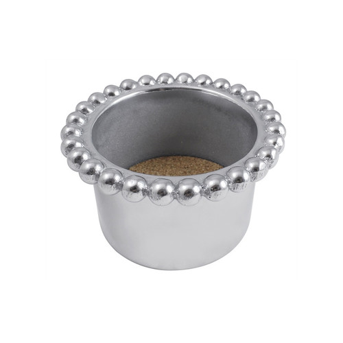 We have a gift for tradition, reimagined, in our String of Pearls collection. Our Pearled Wine Cozy includes a protective cork insert and fits most bottles of wine comfortably for elegantly displaying in any setting. Recycled Sandcast Aluminum DETAILS & PRODUCT CARE Dimensions: 2.75in H Product Care: Our fine metal is handcrafted from 100% recycled aluminum. All items are food-safe and will not tarnish. Handwash in warm water with mild soap and towel dry immediately. Do not place in dishwasher or microwave. Avoid extended contact with water, salty or acidic foods; coat lightly with vegetable oil or spray to easily avoid staining. Warm to 350 degerees for hot foods. Freeze or chill for summer entertaining. Cutting directly on the metal surface will scratch the finish. Occasional use of non-abrasive metal polish will revive luster.