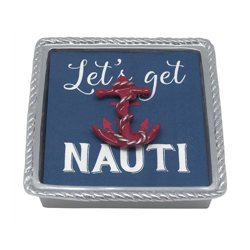 Throw out the lines, and drop your anchor at your favorite destination. Part of our High Seas collection, the Red Anchor Rope Napkin Box includes lively cocktail napkins, paired with an enameled Red Anchor Napkin Weight. Perfect for summer entertaining or gift for a nautical loving hostess. Recycled Sandcast Aluminum DETAILS & PRODUCT CARE Dimensions: 5.75in L x 5.75in W x 1.5in H Product Care: Handwash in warm water with mild soap and towel dry immediately. Do not place in dishwasher or microwave. Do not warm in oven or chill in freezer. Cutting directly on the surface may scratch the finish.