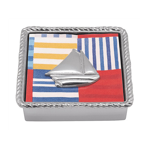 Mariposa Sailboat Rope Napkin Box   1680-C 5.75in L x 1.5in W x 5.75in H   Throw off the lines and set sail to a destination all your own. Part of the High Seas collection, the Twist Napkin Box borders sailboat blueprint cocktail napkins which are topped off with a recycled aluminum Sailboat Napkin Weight. Recycled Sandcast Aluminum