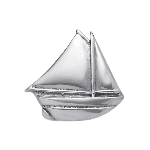 A timeless statement of a most elegant and regal vessel of the sea, our handcrafted Sailboat Napkin Weight keeps a stack of napkins, papers or even nautical maps in place. Recycled Sandcast Aluminum DETAILS & PRODUCT CARE Dimensions: 3in L Product Care: Our fine metal is handcrafted from 100% recycled aluminum. All items are food-safe and will not tarnish. Handwash in warm water with mild soap and towel dry immediately. Do not place in dishwasher or microwave. Avoid extended contact with water, salty or acidic foods; coat lightly with vegetable oil or spray to easily avoid staining. Warm to 350 degrees for hot foods. Freeze or chill for summer entertaining.
