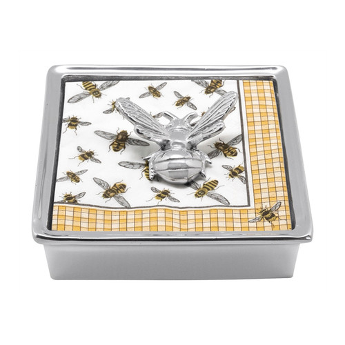 Honey Bee Signature Napkin Box   4013-C 5.75in L x 5.75in W x 1.5in H   Recycled Sandcast Aluminum