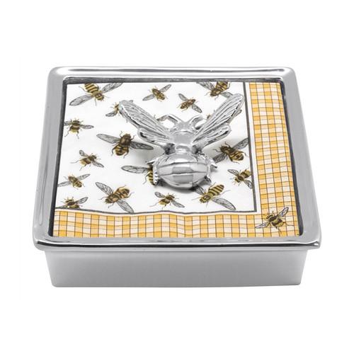 Honey Bee Signature Napkin Box   4013-C 5.75in L x 5.75in W x 1.5in H   Recycled Sandcast Aluminum