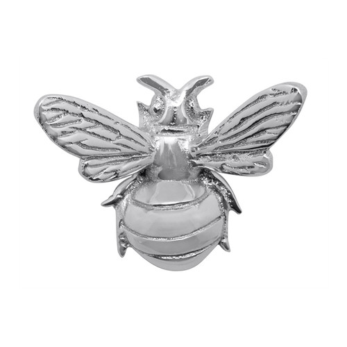"""Mariposa Honeybee Napkin Weight 4080 3""""L  Our Honeybee Napkin Weight lands with a buzz on napkins or papers, keeping the pile in place despite summer breezes. Recycled Sandcast Aluminum"""