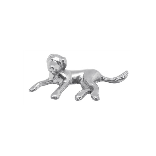 The Labrador Napkin Weight, in sparkling silver metallic, holds down a stack of napkins with the loyalty and obedience of a top dog. Handcrafted from 100% recycled aluminum. Recycled Sandcast Aluminum DETAILS & PRODUCT CARE Item Code: 2982 Dimensions: 4in L x 1.25in W Product Care: Our fine metal is handcrafted from 100% recycled aluminum. All items are food-safe and will not tarnish. Handwash in warm water with mild soap and towel dry immediately. Do not place in dishwasher or microwave. Avoid extended contact with water, salty or acidic foods; coat lightly with vegetable oil or spray to easily avoid staining. Warm to 350 degerees for hot foods. Freeze or chill for summer entertaining. Cutting directly on the metal surface will scratch the finish. Occasional use of non-abrasive metal polish will revive luster.